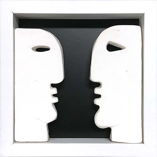 Carol Murphy,  'White heads small box' 2018, ceramic - timber frame, 14.5 x 14.5 x 3cm  image