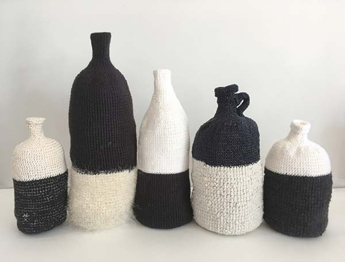 Al Munro, Homage to the everyday - black and white' (detail) 2018, various yarns, crochet, dimensions variable  image