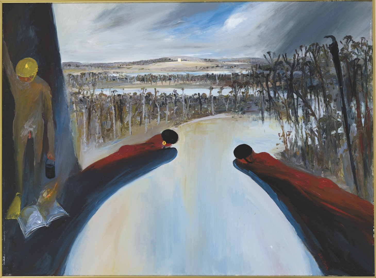 Arthur Boyd, Hanging rocks bathers and Mars, 1985, oil on canvas. Bundanon Trust Collection image