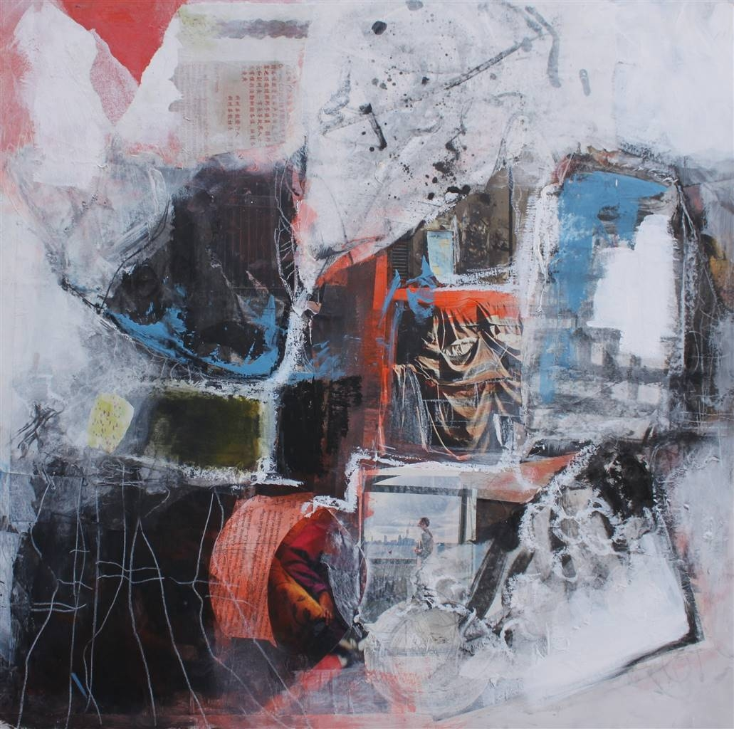 Emmanuelle Auzias, Opening the Window, Acrylic & Mixed Media on Board, 24'' x 24'' image