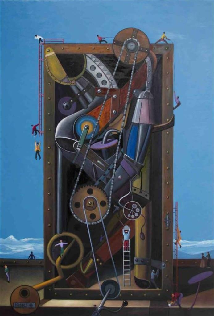 Pedro Vargas, Time Machine,Oil on Canvas, 83'' x 57'' image
