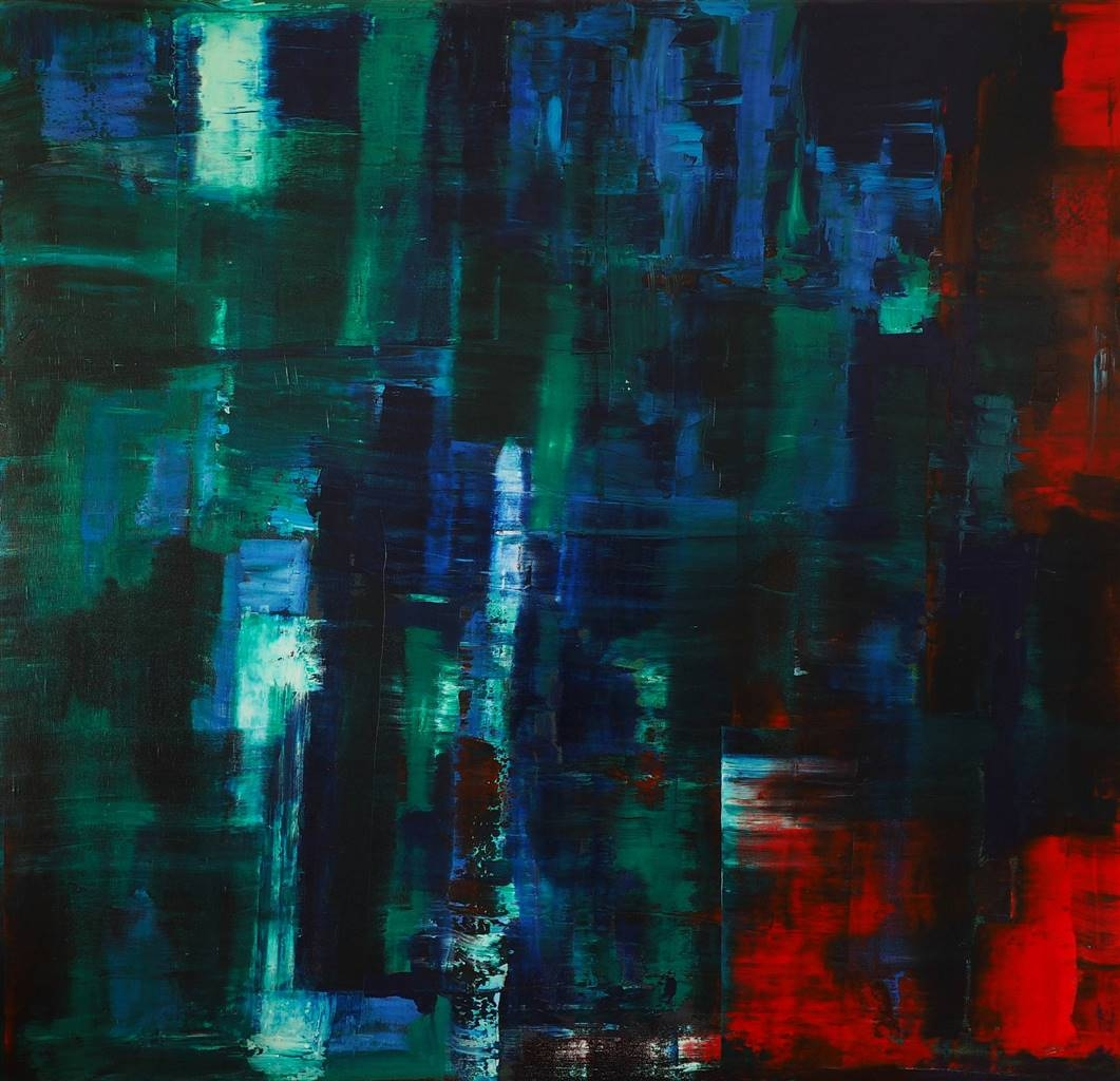 Catherine Timotei, Reflection Green, Blue on Red,Oil on Canvas, 79'' x 75'' image