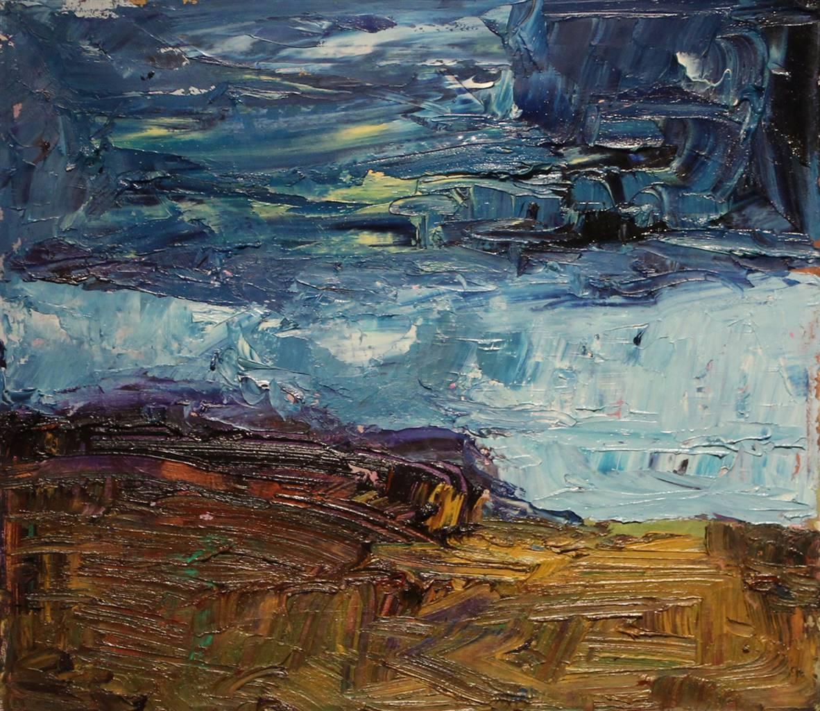Stephen Najda, Dark Clouds Over Totterish Ridge, Oil on Canvas, 16'' x 18'' image