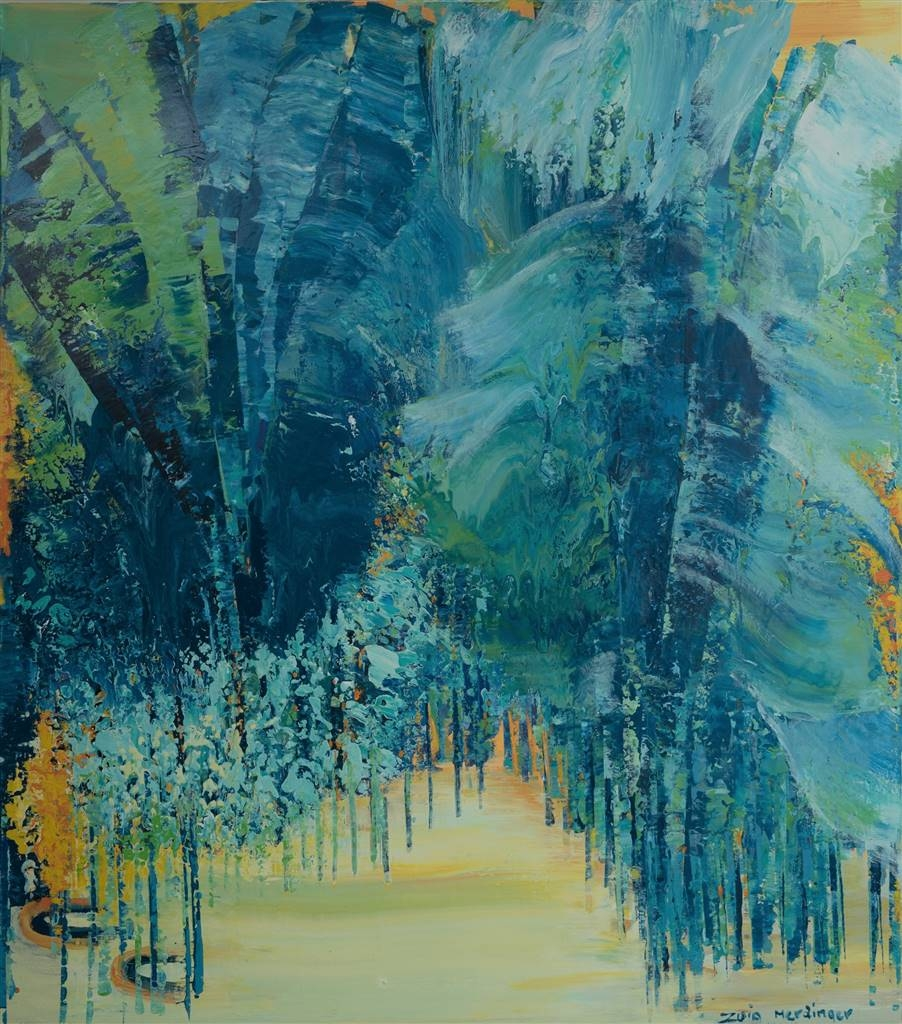 Zvia Merdinger, Blue Jungle, Mixed Media on Canvas, 63'' x 55'' image