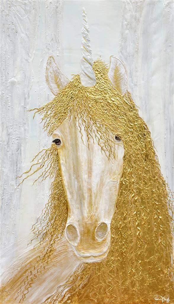 Diana Wunsch, Unicorn  Magic Room, Acrylic & 24 Karat Gold on Canvas, 75'' x 43.5'' image