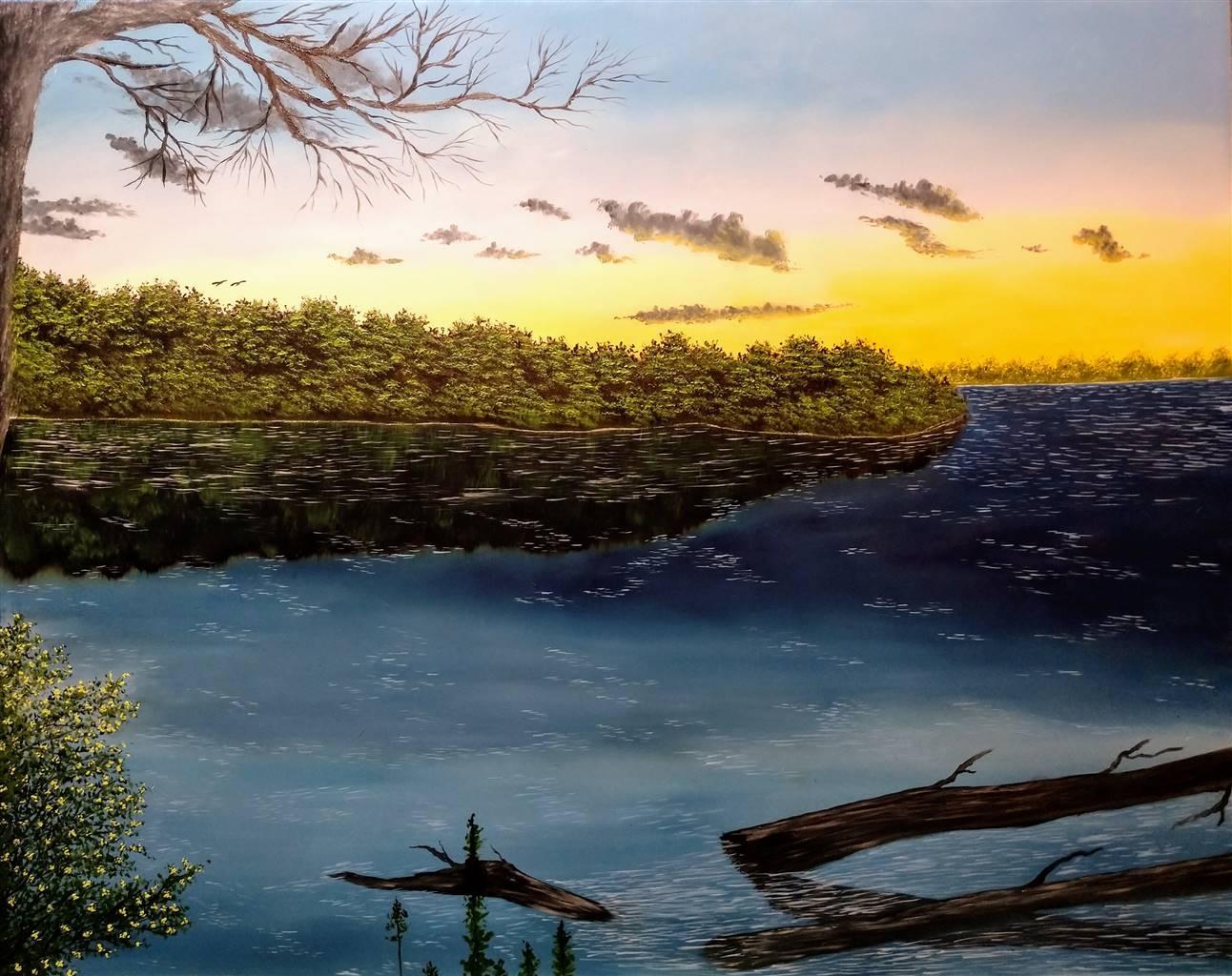 Hezekiah Baker, A Riverbank, Acrylic & Oil on Canvas, 16'' x 20'' image