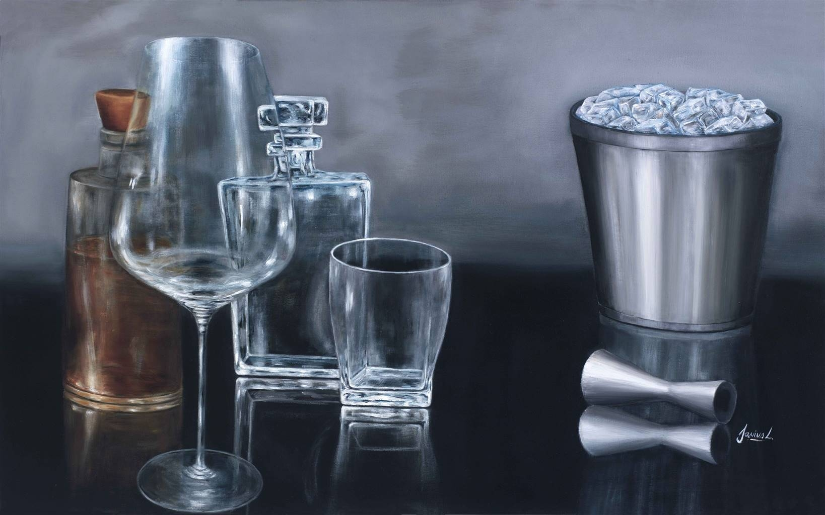Janina Leigue, Bourbon Time 2, Oil on Canvas, 20'' x 31'' image