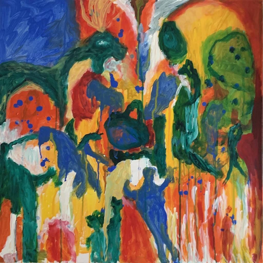 Salwa Almoayyed, Figures, Acrylic on Canvas, 37.5'' x 37.5'' image