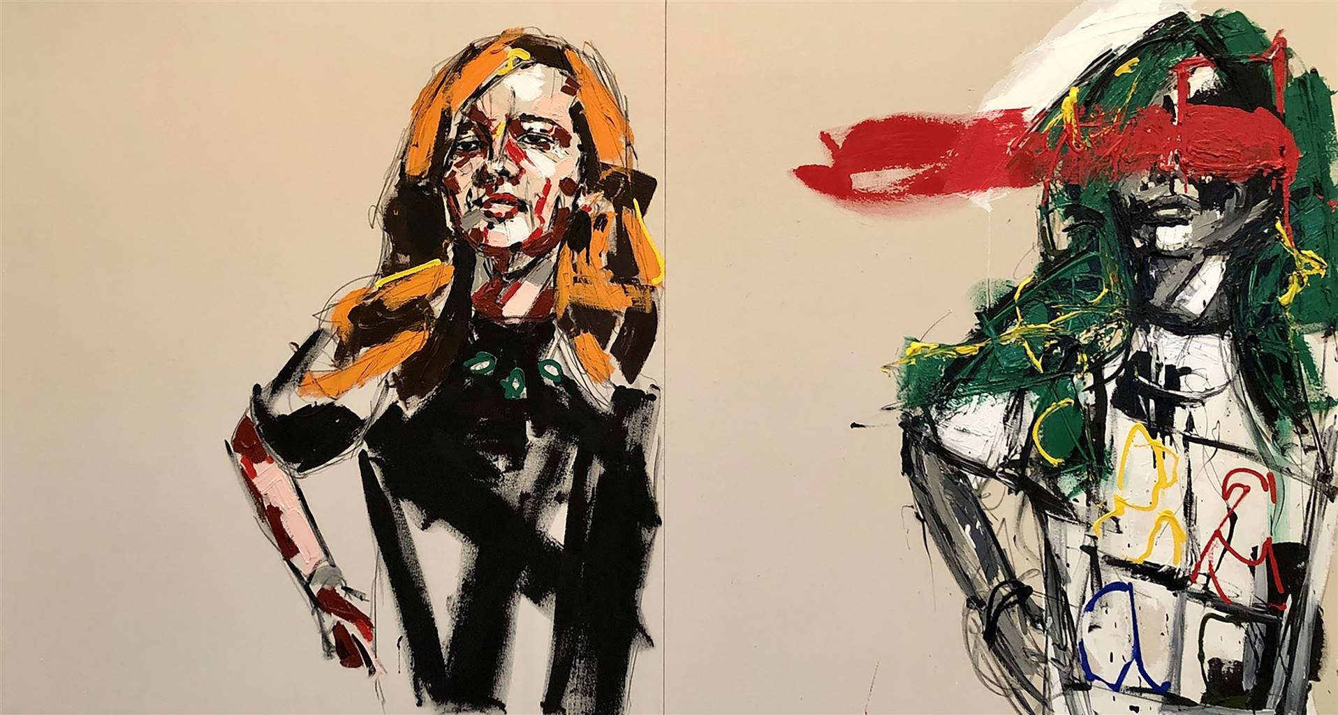 Nick Bautista, A Paradox Walks into a Bar, Acrylic & Charcoal on Canvas image