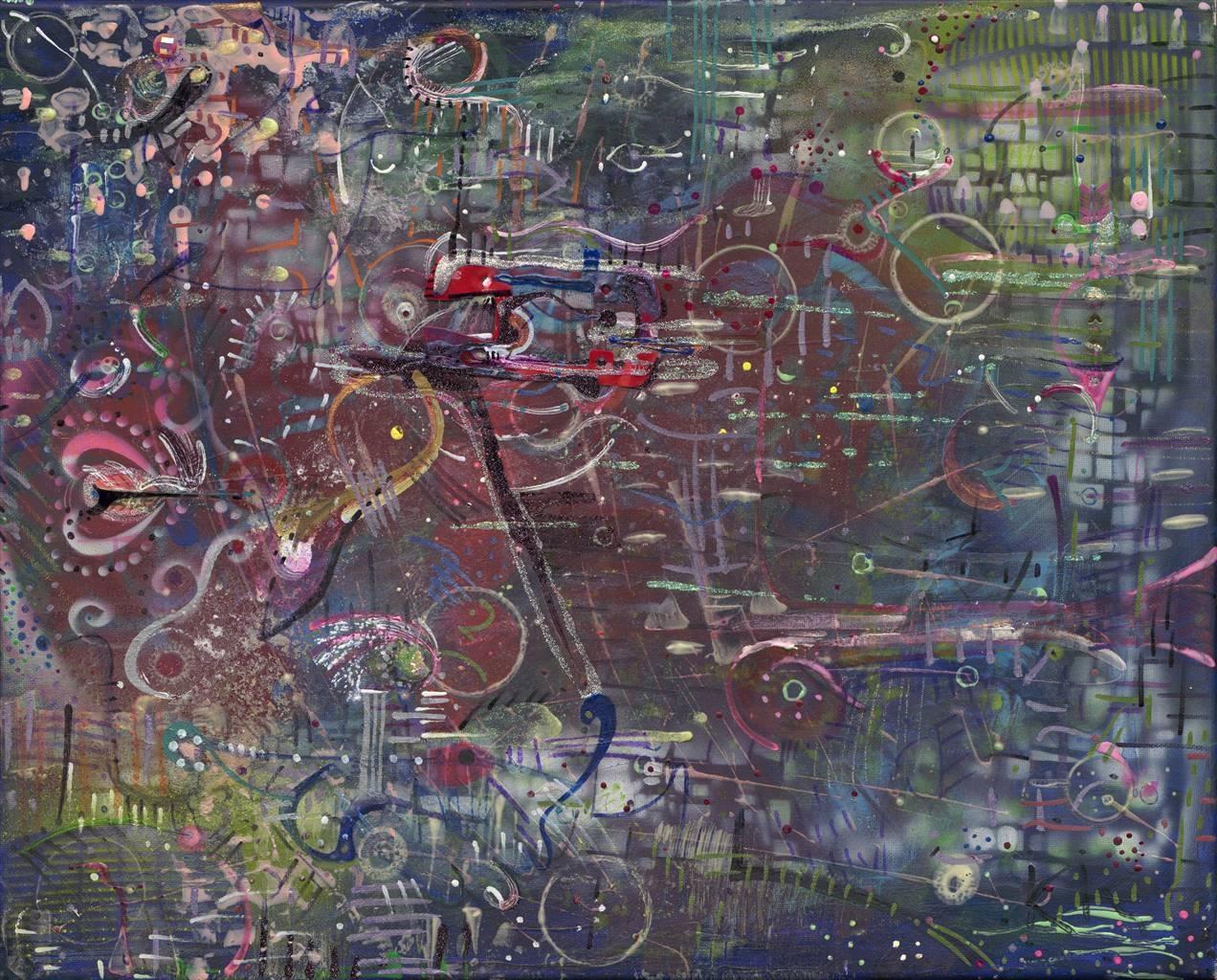 Denel-KK, Vector Collaboration, Mixed Media on Canvas, 16 x 20 image
