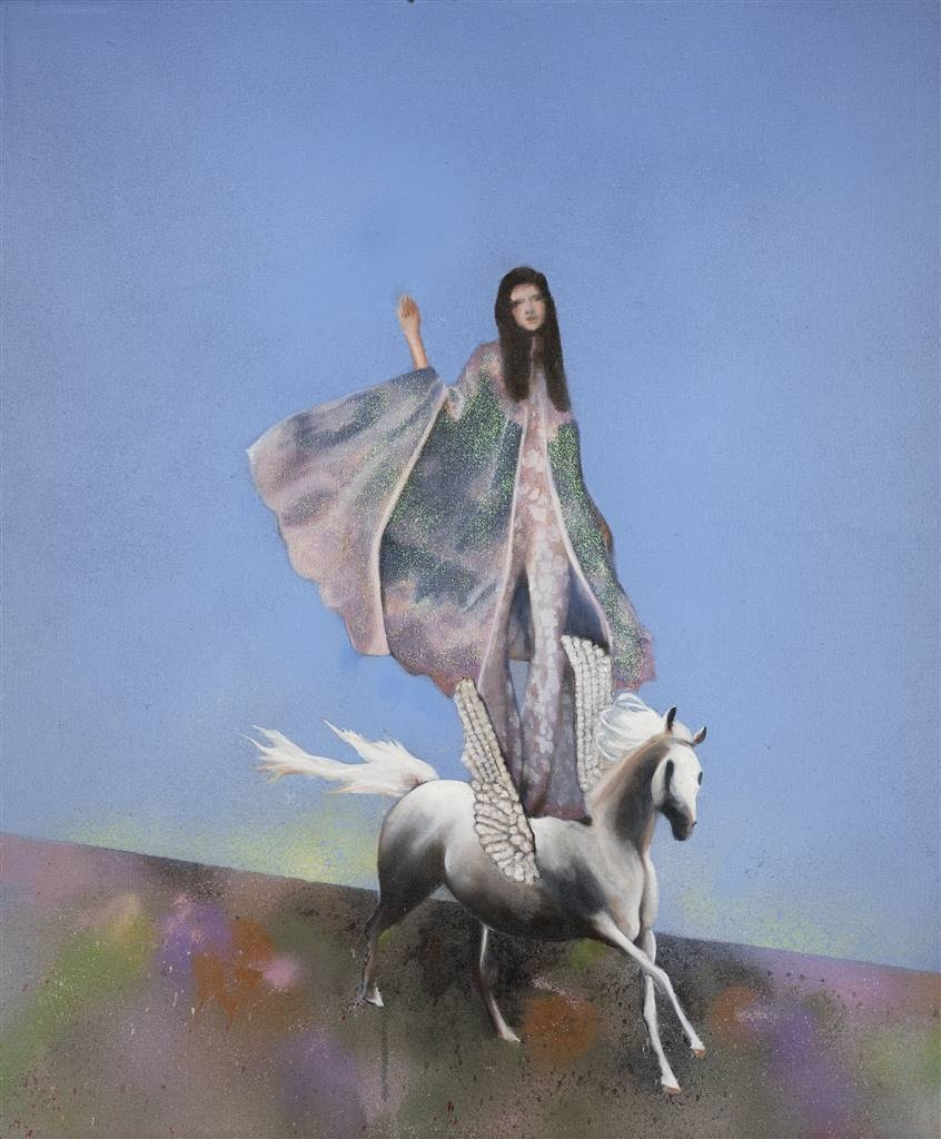 Evelyna Helmer, Woman Leaving, Oil & Spray Paint with Glitter on Fine Linen, 36 x 30 image