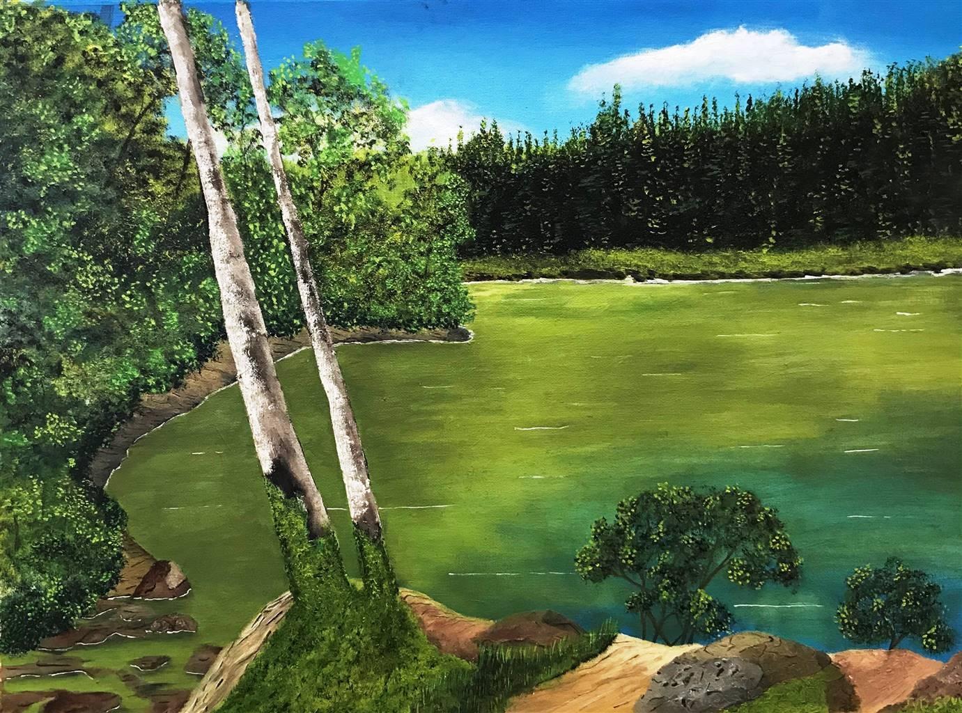 Johan van der Spuy, Natures Serenity, Oil on Canvas, 17 x 23 image