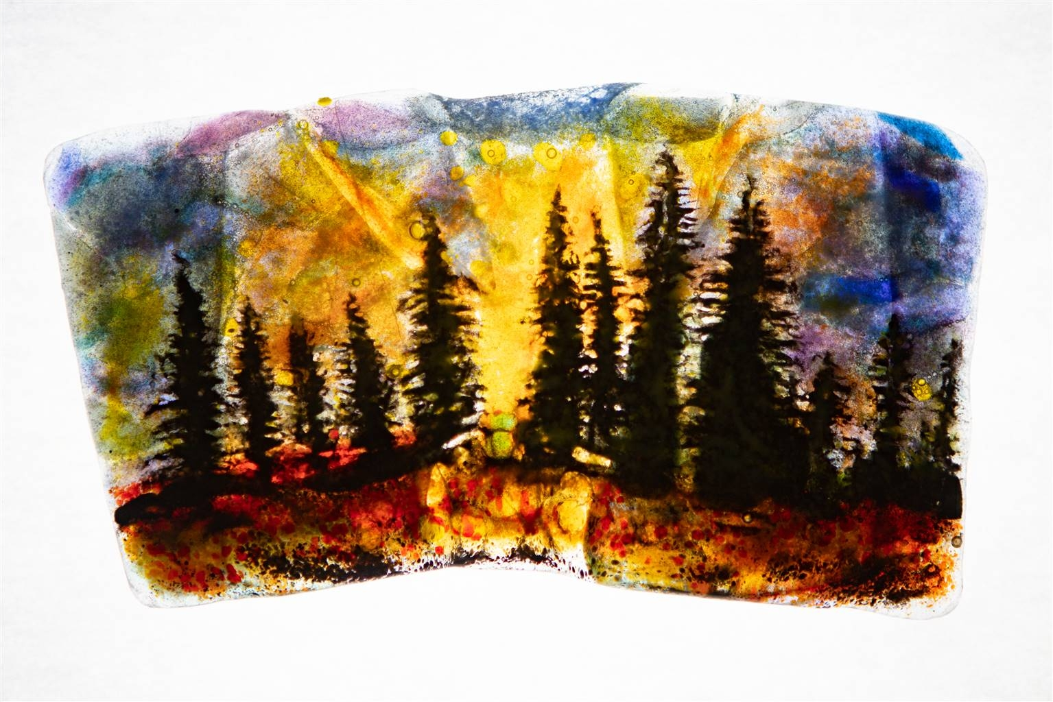 Manolo Ferrer, Forest 7, Glass Painting, 5 x 8.5 image