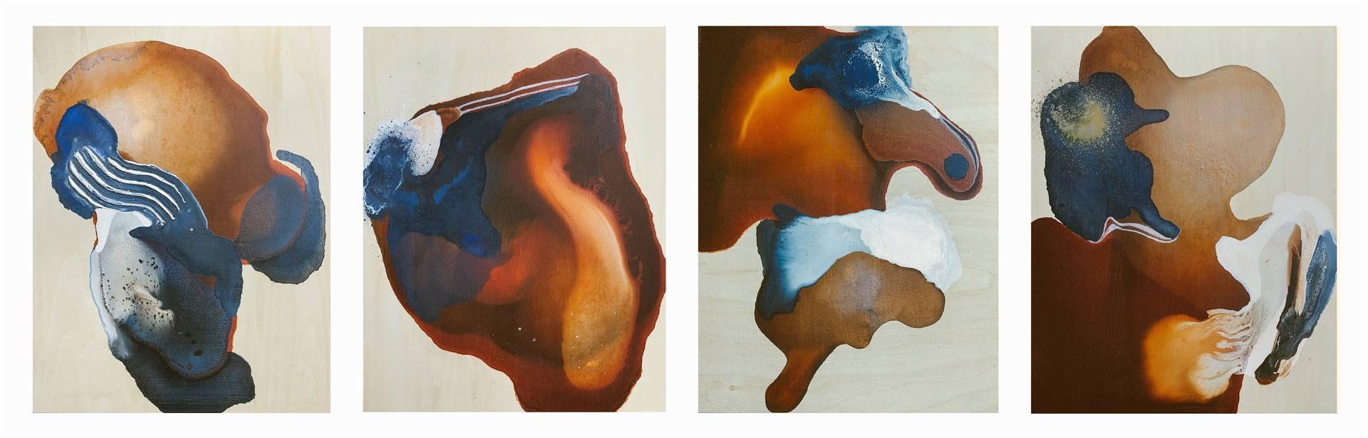 Orianna Montenegro, Spilled Coffee series, Acrylic & Mixed Media, 14 x 47 image