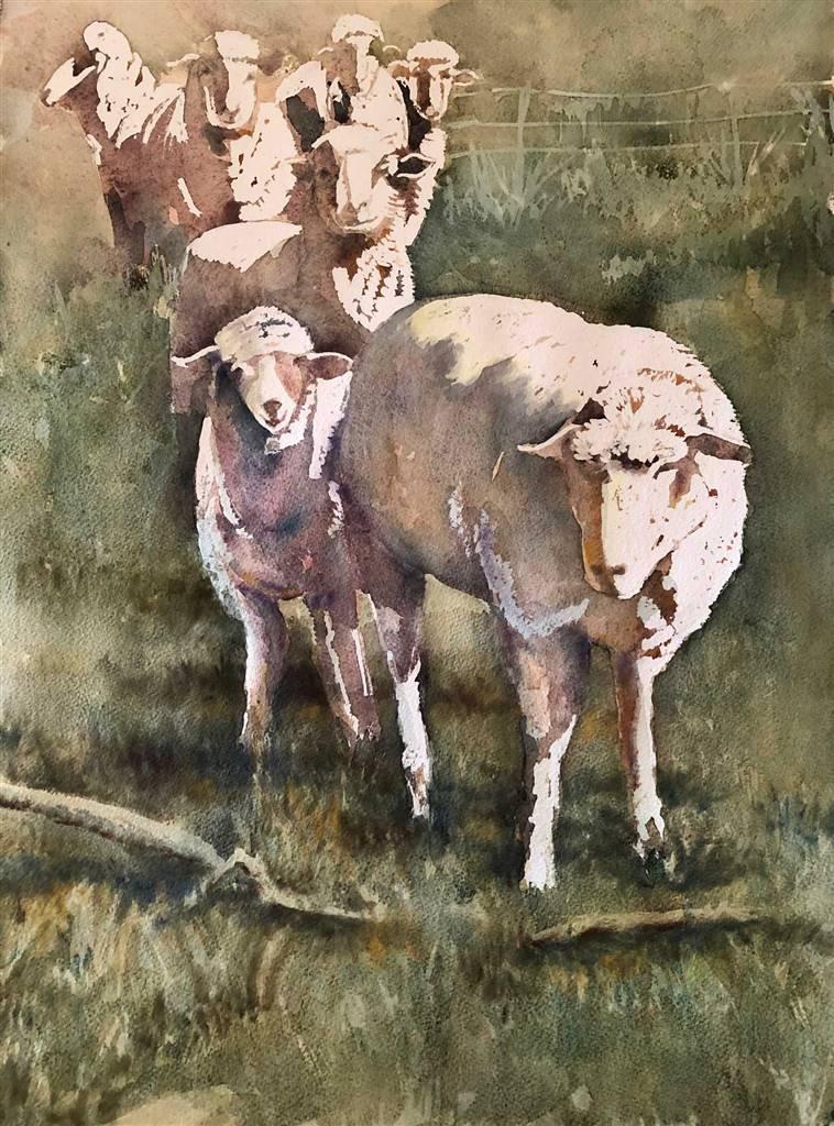 Pauli Zmolek, Seven Sheep, Watercolor & Pastel on Paper, 24 x 18 image