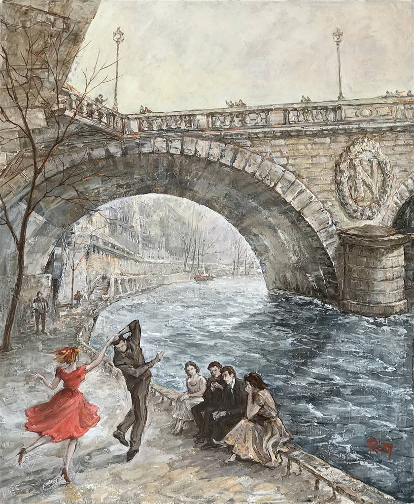 Rody,Dancers by Napoleon Bridge,Oil on Canvas, 25.5 x 24 image