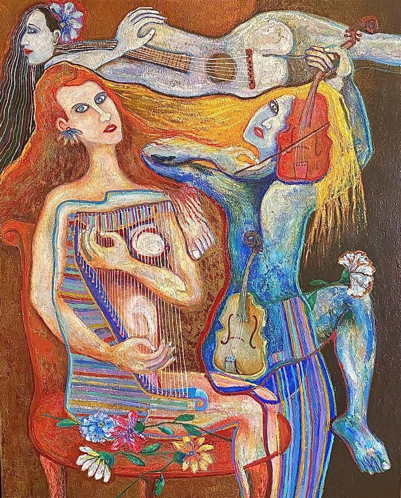 Hector Anchundia, Concertista, 2021 Acrylic on Canvas 50
