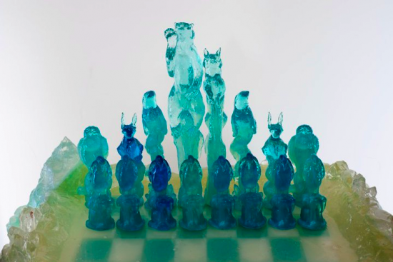 Kate Rohde, Glacial chess set 2010, polyester resin and craft components image