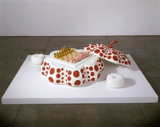 Yayoi Kusama, Pumpkin Chess Set 2003, hand-painted porcelain, leather, timber. image