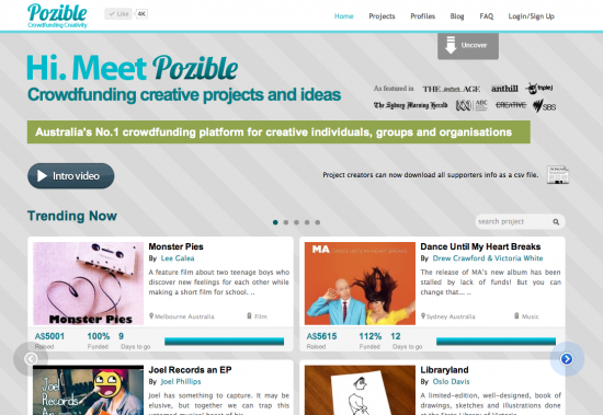 Australia's first crowd funding platform Pozible raises $1 million in pledges image