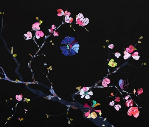 Cherry blossom, 2011, acrylic, gouache, pen and vinyl on canvas, image
