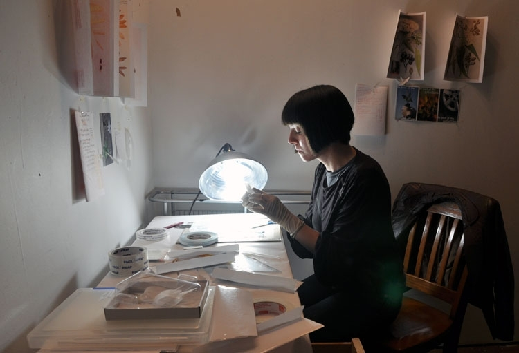 Burning the midnight oil in her studio in New York. image