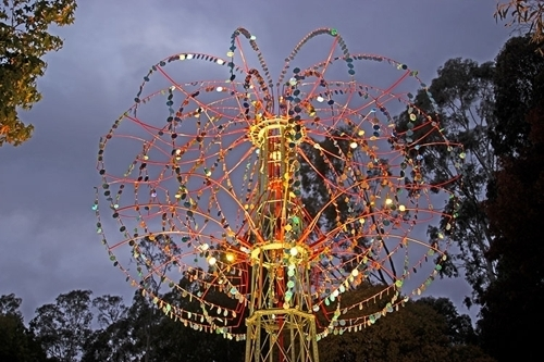 Nebulous kinetic sculpture by Alex Sanson, open at dusk, 2015 image