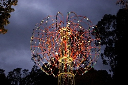 Nebulous kinetic sculpture by Alex Sanson, closed at dusk, 2015 image
