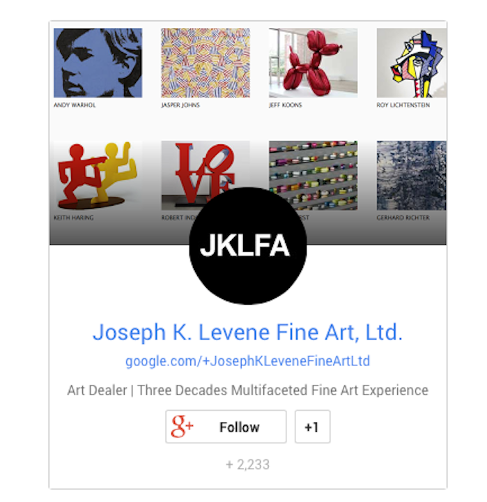 Follow Joseph K. Levene Fine Art, Ltd. on Google+ image