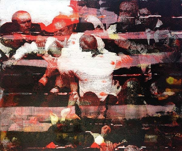 Robert Boynes, 'Question Time 4' 2015, acrylic on board 25 x 30cm image
