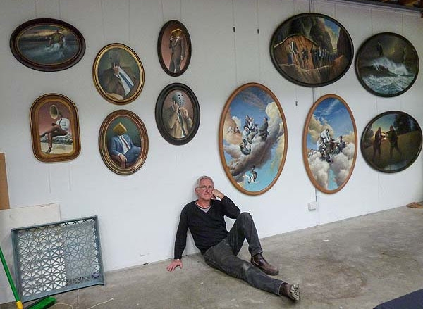 James Guppy in his studio with the suite of works In Flagrante Delicto, 2015 image