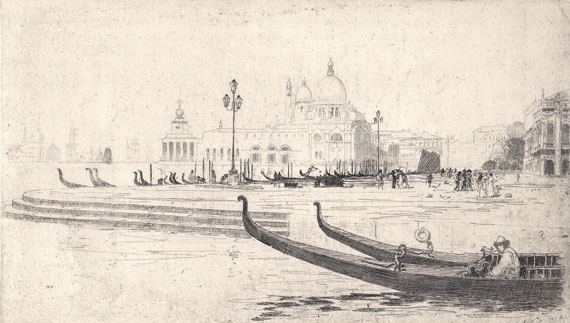 La Salute from Riva Schiavoni, etching. Sir Arthur Streeton image