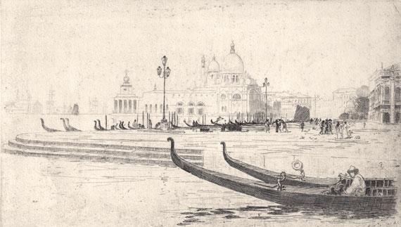 La Salute from Riva Schiavoni, etching. Sir Arthur Streeton image