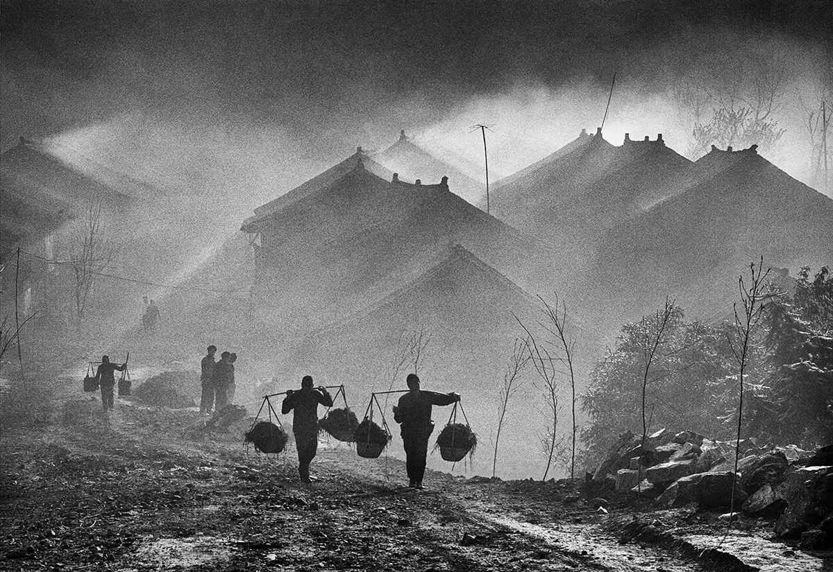 Misty morning at Baojin village in winter time  image