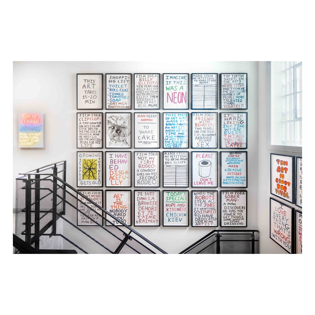 Picture hanging arrangement in commercial location image