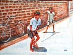 Max240_2_gully_cricket_12x16_acrylic_on_canvas_framed