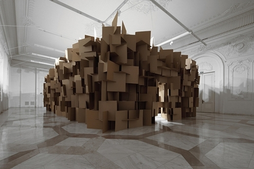 200 prepared dc-motors, 2000 cardboard elements 70 x 70 cm image