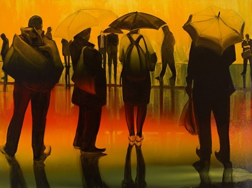 Barbara Bolt: Bourke St 5pm (panel 3 of triptych)  image