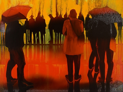 Barbara Bolt: Bourke St 5pm (panel 2 of triptych) image