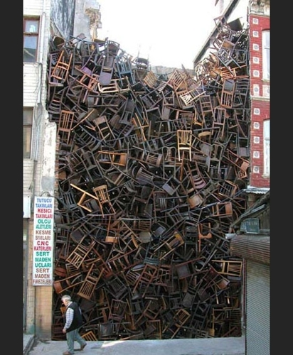 1600 Stacked Chairs = Massive Public Art Installation image