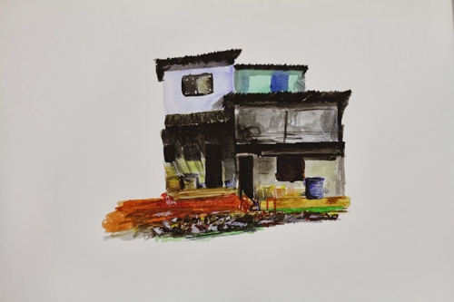 A3 watercolour sketches of slum dwellings from India residency image