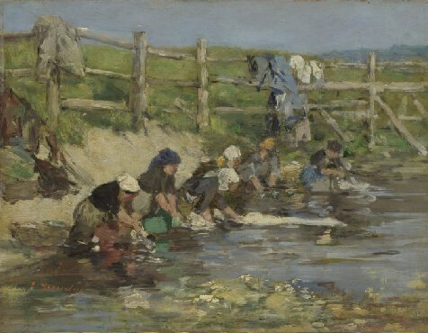 Laundresses by a Stream image