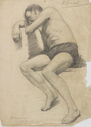 Seated male nude - McMahon again image