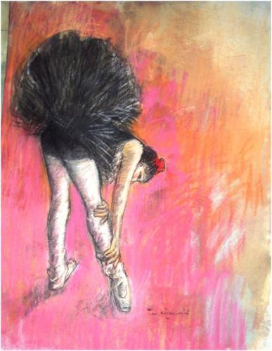 William Boissevain 'Ballerina Stretching' Gouache 70x50cm image