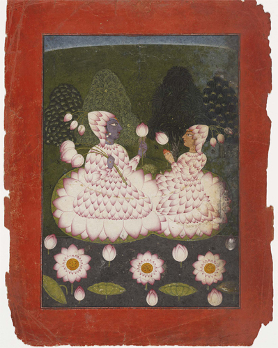 Lotus-clad Radha and Krishna circa 1700-1710 image