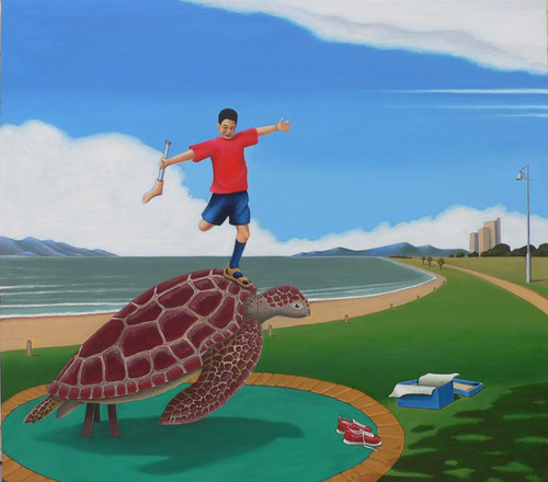 Turtles can fly: Hung walks The Strand image