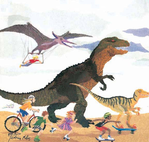 January image - Children Skating and Cycling with Dinosaurs image