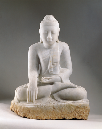 Buddha, calling the earth to witness 19th century, Burma image
