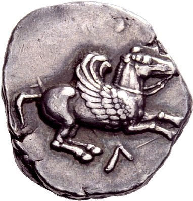 Silver drachm with flying Pegasus image