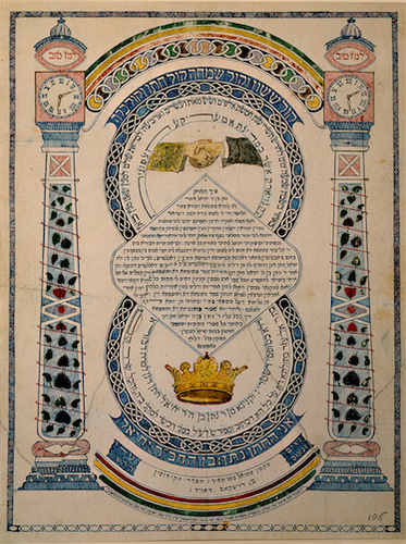 Marriage Contract, New York City, 1863; artist and calligrapher: Zemah Davidsohn; groom: Nathan, son of Jehiel; bride: Deborah, daughter of Eliezer image